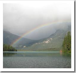 A rainbow over Emerald Lake